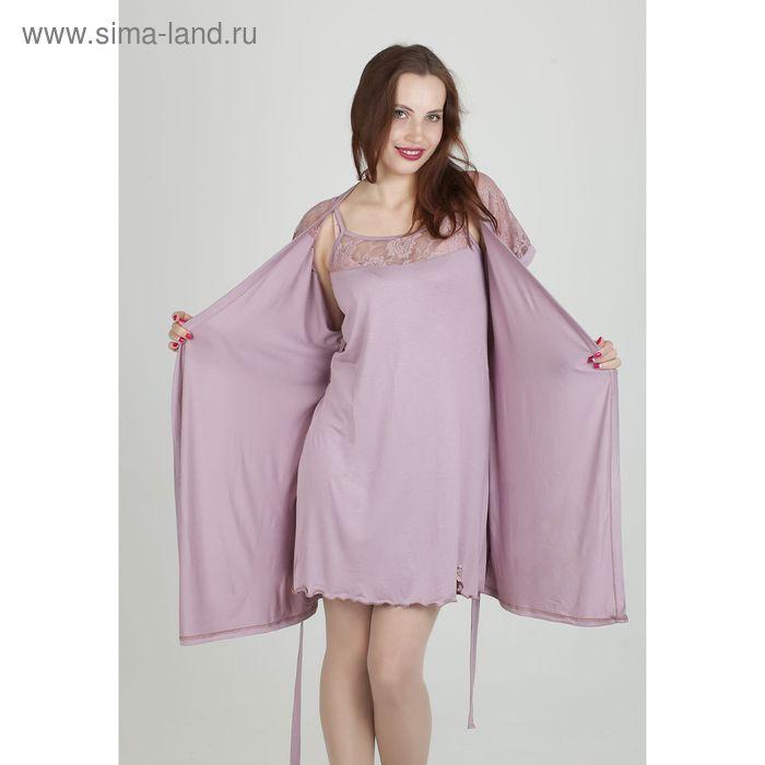 Комплект женский (сорочка, халат) арт.851 цвет сухая роза, р-р 44
