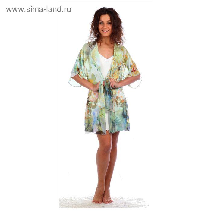 Комплект женский (сорочка, халат) Эммануэль цвет бирюзовый, р-р 52