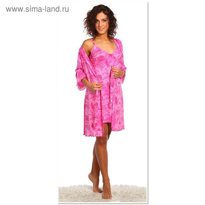 Комплект женский (сорочка, халат) Соблазн цвет розовый, р-р 42