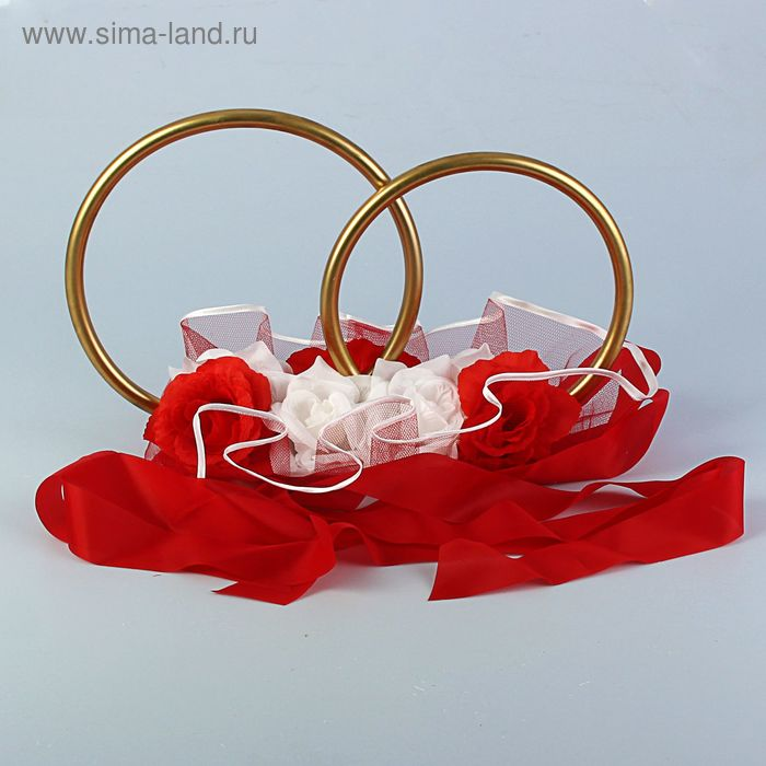 Кольца металлик. с органзой и цветами на крышу 40х55х35 см красный-белый