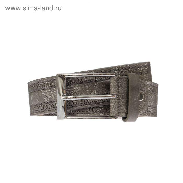 Ремень мужской, винт, пряжка под металл, ширина - 4см, серый
