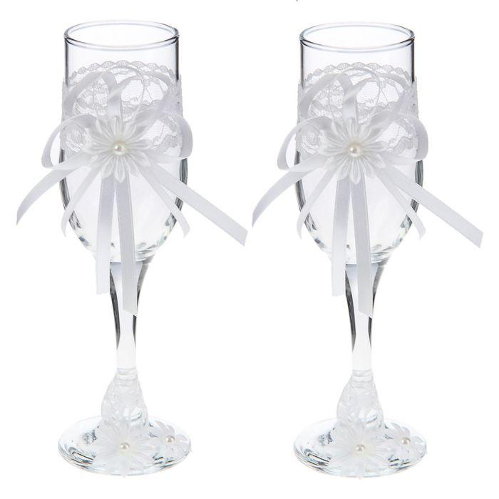 """Бокалы свадебные """"Семейная идилия"""" (набор 2шт.) высота 20см белый - белый"""