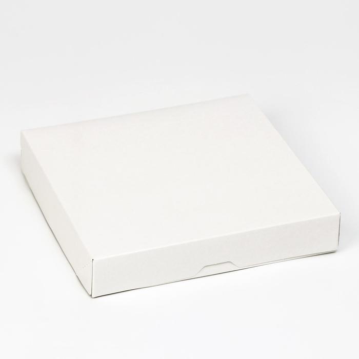 Кондитерская упаковка, короб, белый, 22,5 х 22,5 х 4,2 см - фото 308035186