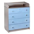 Комод детский пеленальный, 4 выдвижных ящика, цвет ясень шимо светлый/голубой