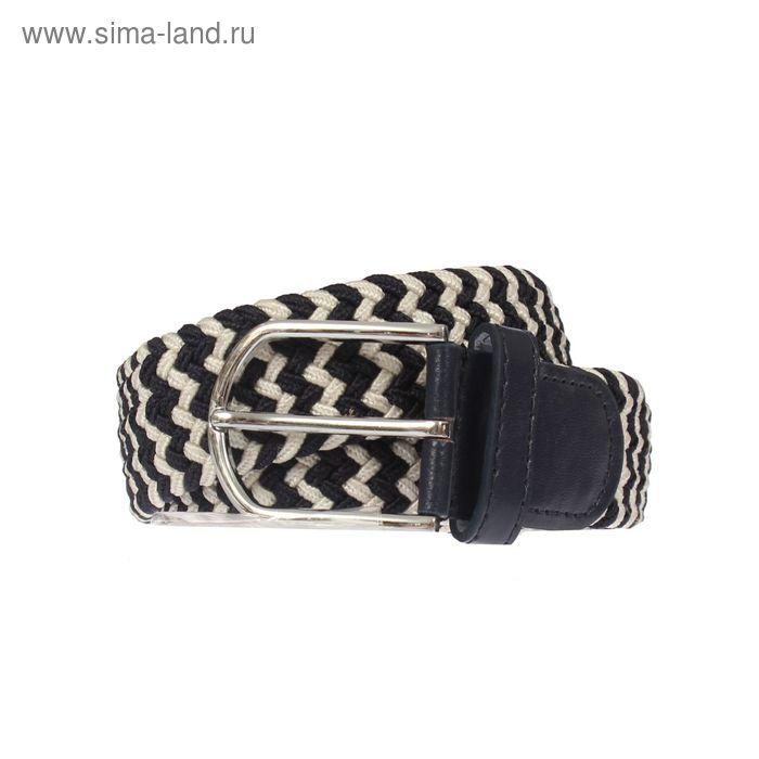 Ремень мужской, пряжка под металл, ширина - 3,5см, чёрный/белый