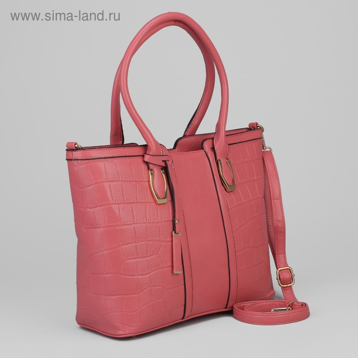 Сумка женская на молнии, 2 отдела, длинный ремень, розовая