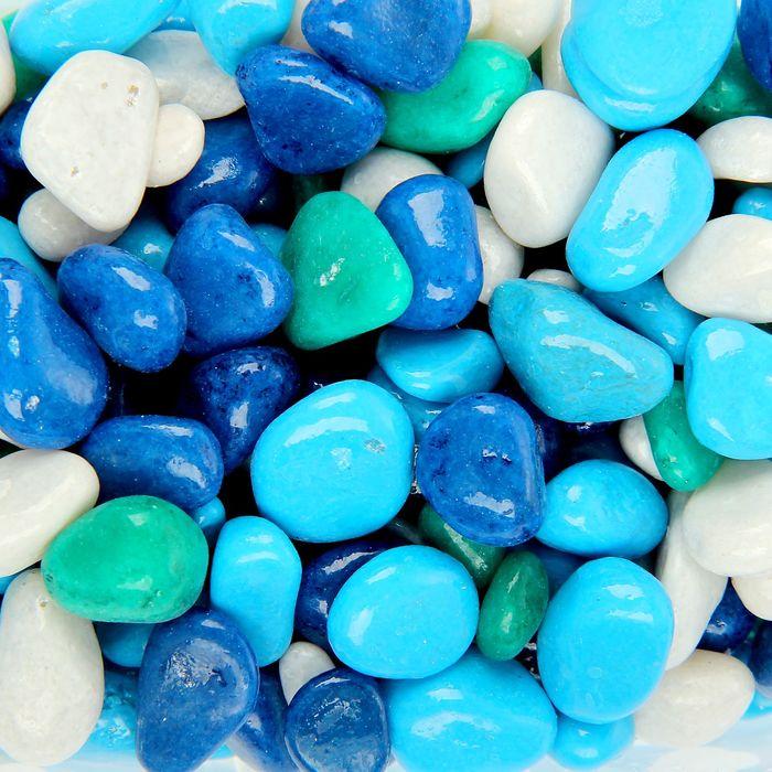 Грунт для аквариума (5-10 мм) голубой-синий-белый-бирюзовый, 350 г