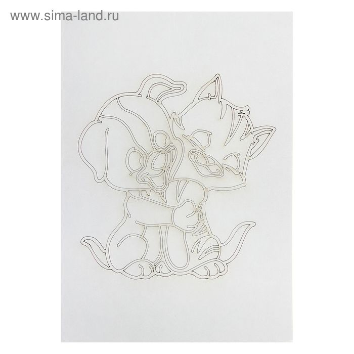 "Трафарет ""Котёнок с щенком"" А4"