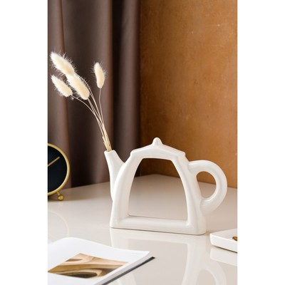 """Ваза """"Арт-хаус чайник"""" белый, глазурь, глянец, 18 см"""