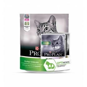 Акция! Сухой корм PRO PLAN для стерилизованных кошек, кура/индейка, 400 гр+ 2 пауча