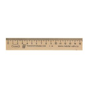Линейка деревянная 15 см, Красная звезда Можга (штрихкодированная)