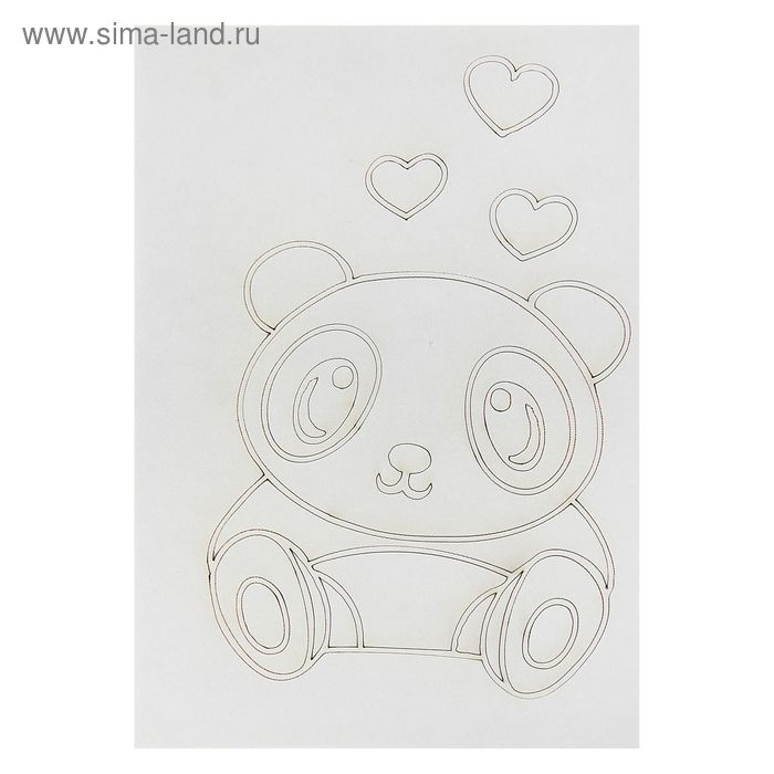 "Трафарет-открытка ""Панда с сердечками"""