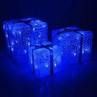 """Фигура акрил. """"Подарки"""" Кубы 15, 20 и 25 см, 54 LED, 220V СИНИЙ"""