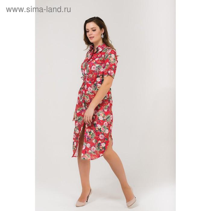 Платье-рубашка женское, цвет красный, размер 44, рост 168