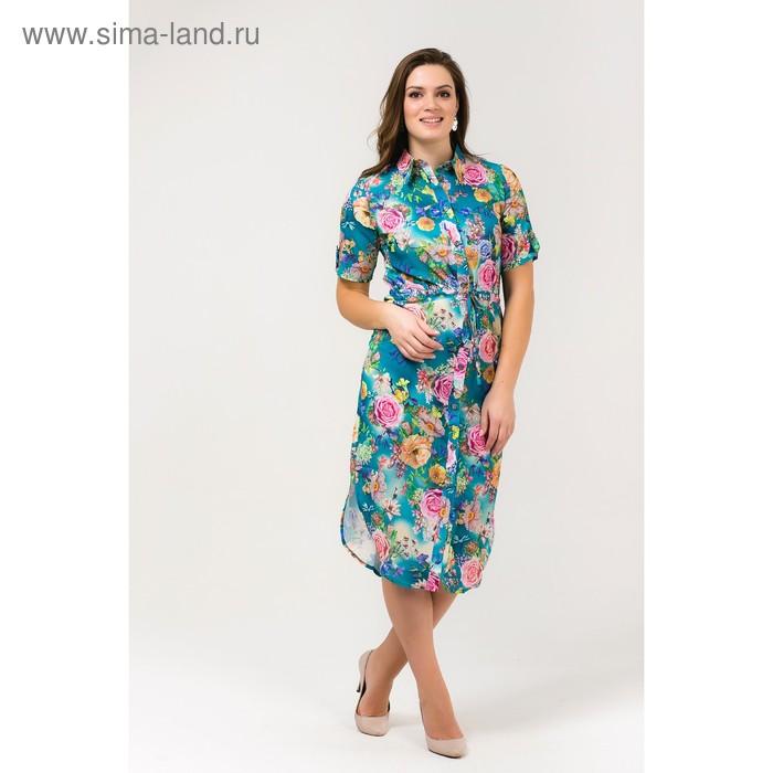 Платье женское, размер 54, рост 168, цвет бирюза (арт. 17252 С+)