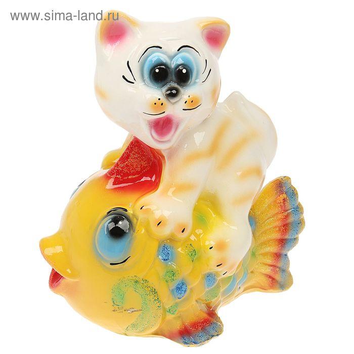 "Копилка ""Котёнок на рыбе"" глянец"