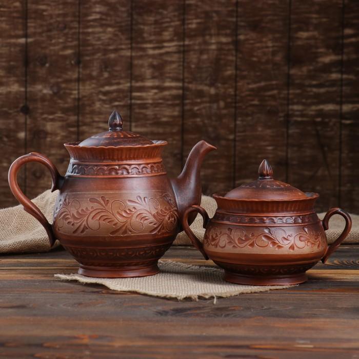 """Чайный набор """"Витязь"""" чайник-1,6 л и сахарница 0,85 л, роспись ангобом, микс - фото 1646817"""
