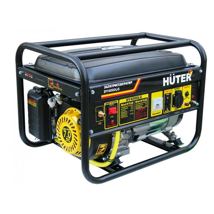 Электрогенератор Huter DY4000LG, бензин/газ, 3/3.3 кВт, 220 В, 15 л, ручной старт