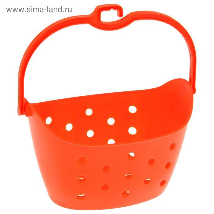 Корзина овальная с ручкой, цвет оранжевый