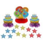 """Бумажное украшение для стола """"С днём рождения!"""", шары и торты, набор 3 шт. + звёздочки"""