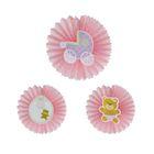 """Подвески бумажные """"Малышка"""", набор 3 шт., цвет розовый"""