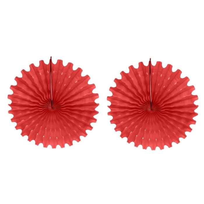"""Подвески бумажные """"Колёсико"""", набор 2 шт., цвет красный, d=50 см"""