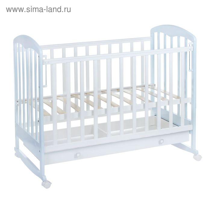 Детская кроватка «Фея 325» на колёсах или качалке, с ящиком, цвет белый/лазурь