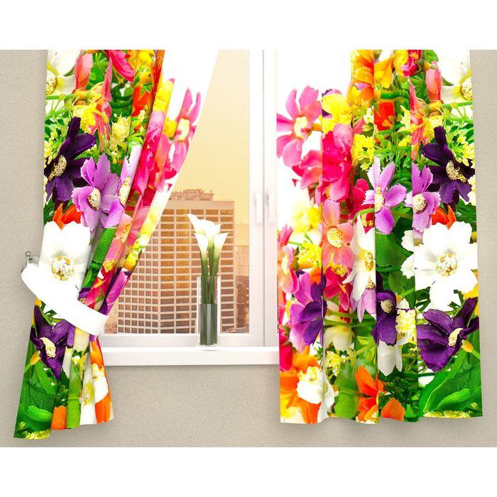 """Фотошторы кухонные """"Весенние полевые цветы"""", 145 х 160 см, 2 шт., габардин, п/э"""