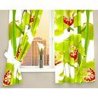 """Фотошторы кухонные """"Зелёная орхидея"""", ширина 145 см, высота 160 см-2 шт., габардин"""