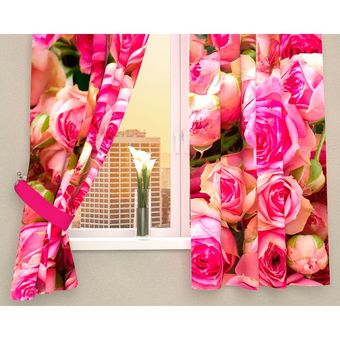"Фотошторы кухонные ""Россыпь роз"", 145 х 160 см, 2 шт., габардин, п/э"