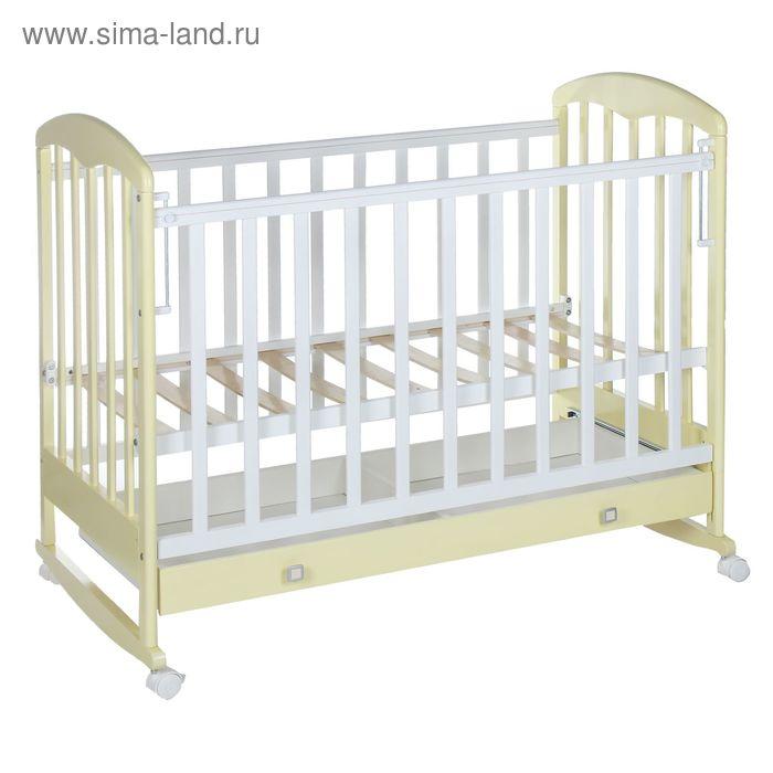 Детская кроватка «Фея 325» на колёсах или качалке, с ящиком, цвет белый/ваниль