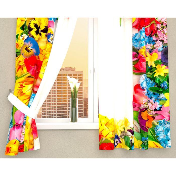 """Фотошторы кухонные """"Яркие бутоны цветов"""", ширина 145 см, высота 160 см-2 шт., габардин"""