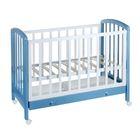 Детская кроватка «Фея 600» на колёсах, с ящиком, цвет белый/синий капри
