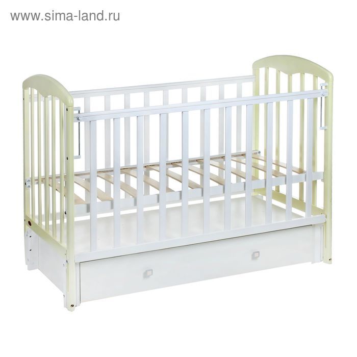 Детская кроватка «Фея 328» на маятнике, с ящиком, цвет белый-ваниль