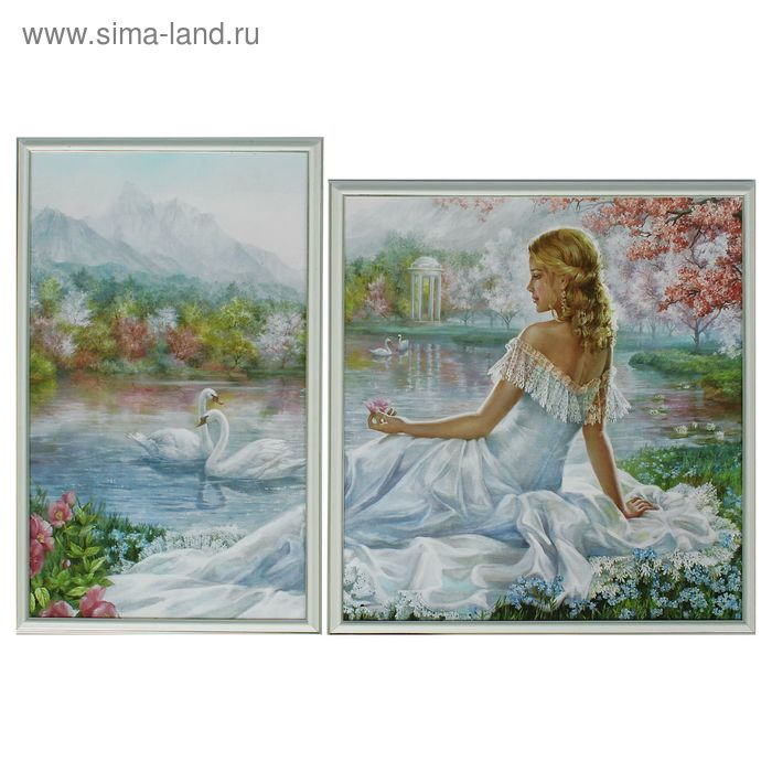"""Картина модульная в раме """"Девушка у пруда""""  50х53см; 36х58см:  58*86см"""