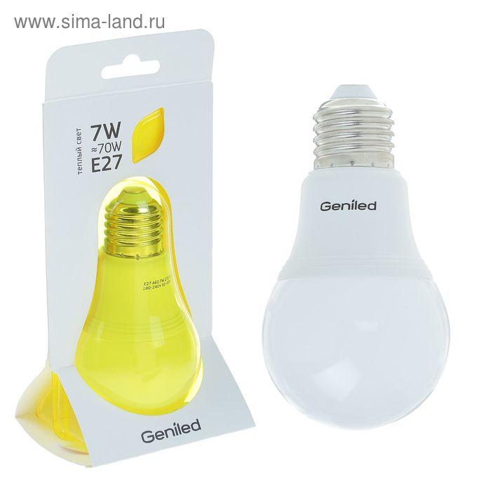 Лампа светодиодная Geniled, E27, А60, 7 Вт, 2700 К, матовая  теплый свет