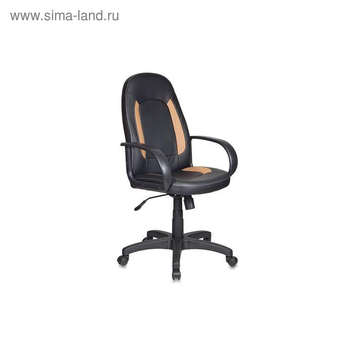 Кресло руководителя CH-826/B+BG черный с бежевыми вставками, искусственная кожа