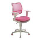 Кресло Бюрократ, с подлокотникам, розовый, спинка сетка, белый пластик, CH-W797/PK/TW-13A - фото 888946
