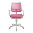Кресло Бюрократ, с подлокотникам, розовый, спинка сетка, белый пластик, CH-W797/PK/TW-13A - фото 888947