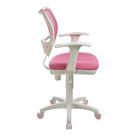 Кресло Бюрократ, с подлокотникам, розовый, спинка сетка, белый пластик, CH-W797/PK/TW-13A - фото 888948