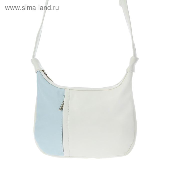 Сумка женская на молнии, 1 отдел, 2 наружных кармана, белый/голубой