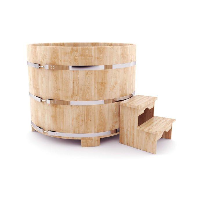 Японская баня Фурако овальная с внешней дровянной печкой, 120x160 см