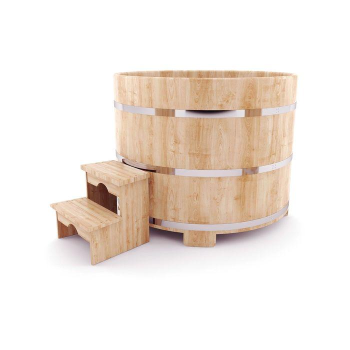 Японская баня Фурако овальная с внешней дровянной печкой, 120x180 см