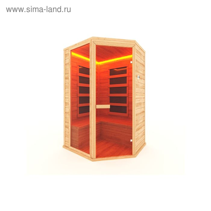 Инфракрасная сауна с пленочным излучателем трехместная, угловая 160x115x200