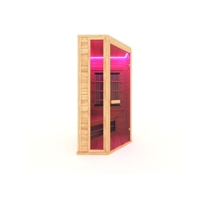 Инфракрасная сауна с керамическим излучателем одноместная, угловая 105x105x200