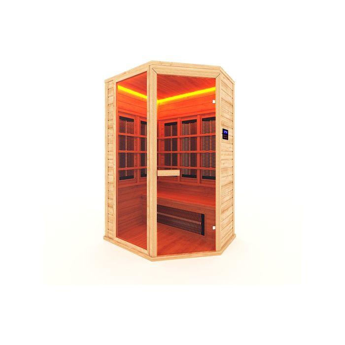 Инфракрасная сауна с керамическимизлучателем двухместная, угловая 135x105x200