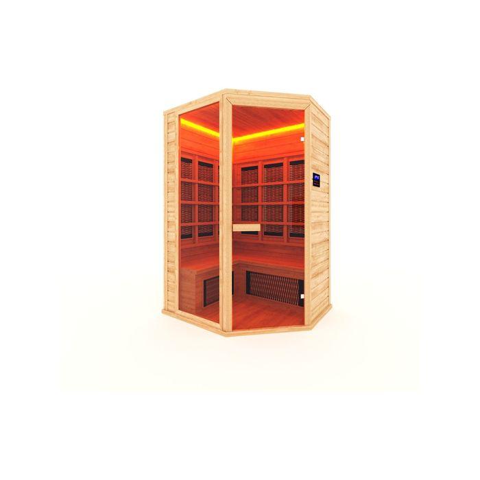 Инфракрасная сауна с керамическим излучателем трехместная, угловая 160x115x200