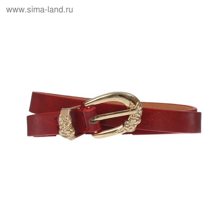 """Ремень женский """"Роза"""", пряжка-хомут под золото, ширина - 1,5см, красный"""