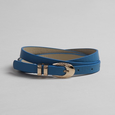 Strap womens Chic buckle clamp in gold, width - 1.5 cm, blue