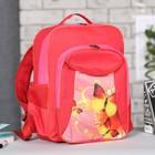 Рюкзак школьный на молнии, 1 отдел, 3 наружных кармана, красный